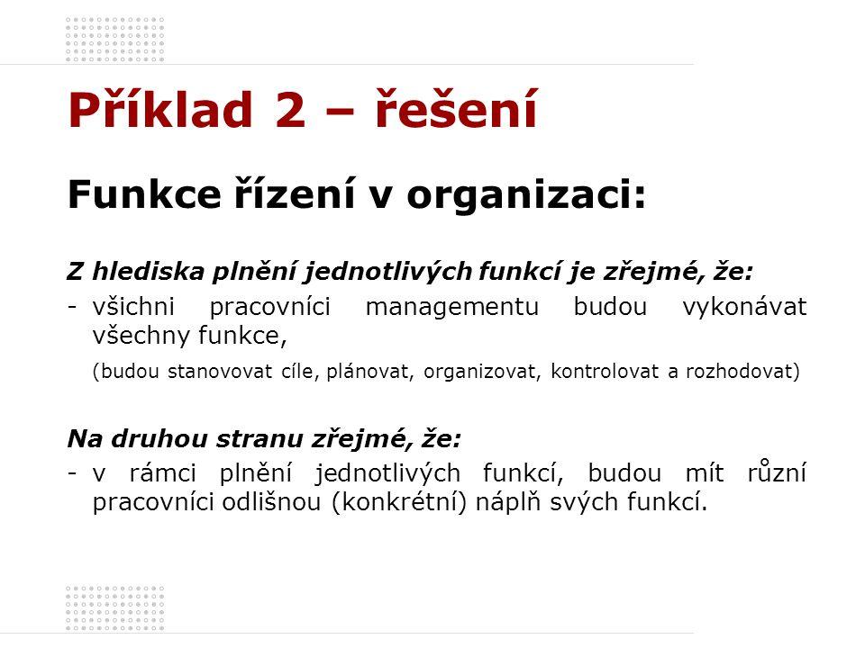 Příklad 2 – řešení Funkce řízení v organizaci: Z hlediska plnění jednotlivých funkcí je zřejmé, že: -všichni pracovníci managementu budou vykonávat vš