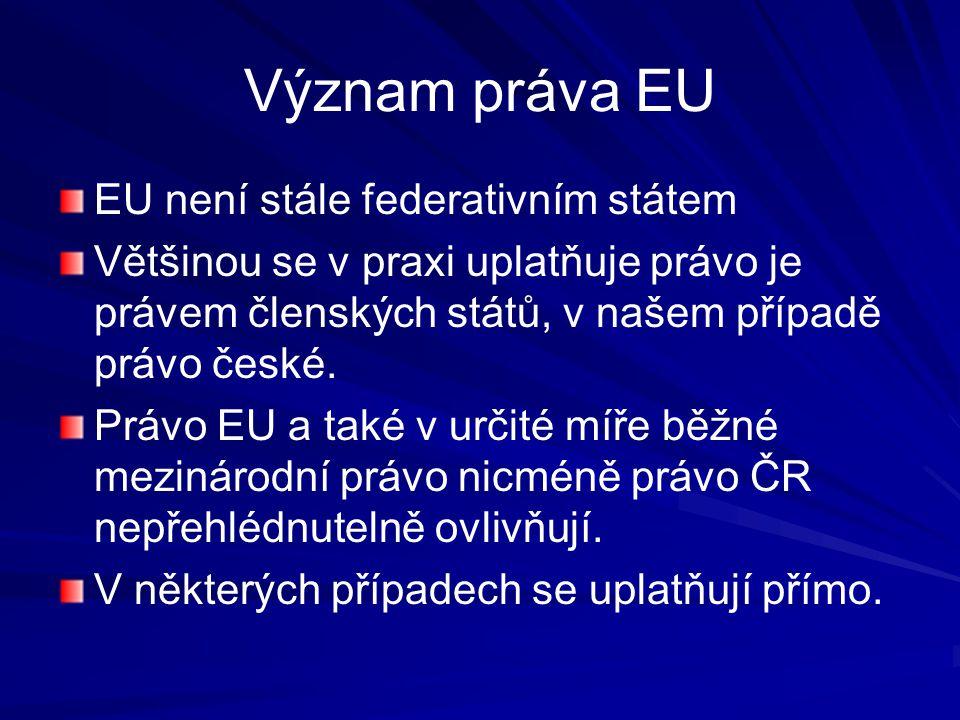 Ústavní soudnictví a EU Ústavní soud jako garant ústavnosti V některých jiných členských státech se ústavní soudy postavily proti primátu práva EU Český Ústavní soud již vyjádřil své postoje vůči právu EU (včetně Lisabonské smlouvy).