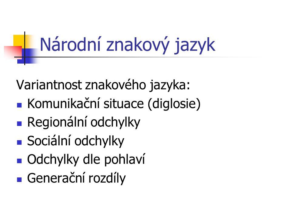 Národní znakový jazyk Druhy znaků ve znakovém jazyce: Ukazovací (deiktické) Napodobovací (ikonické) Symbolické (arbitrární) Specifické