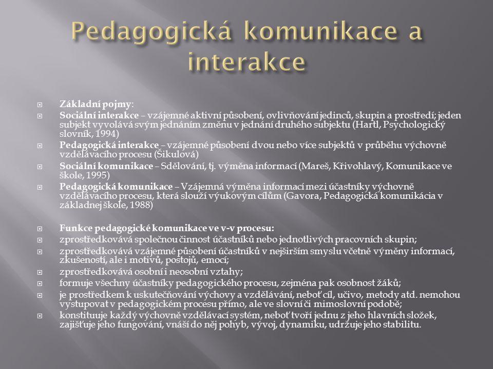  Základní pojmy :  Sociální interakce – vzájemné aktivní působení, ovlivňování jedinců, skupin a prostředí; jeden subjekt vyvolává svým jednáním změnu v jednání druhého subjektu (Hartl, Psychologický slovník, 1994)  Pedagogická interakce – vzájemné působení dvou nebo více subjektů v průběhu výchovně vzdělávacího procesu (Šikulová)  Sociální komunikace – Sdělování, tj.