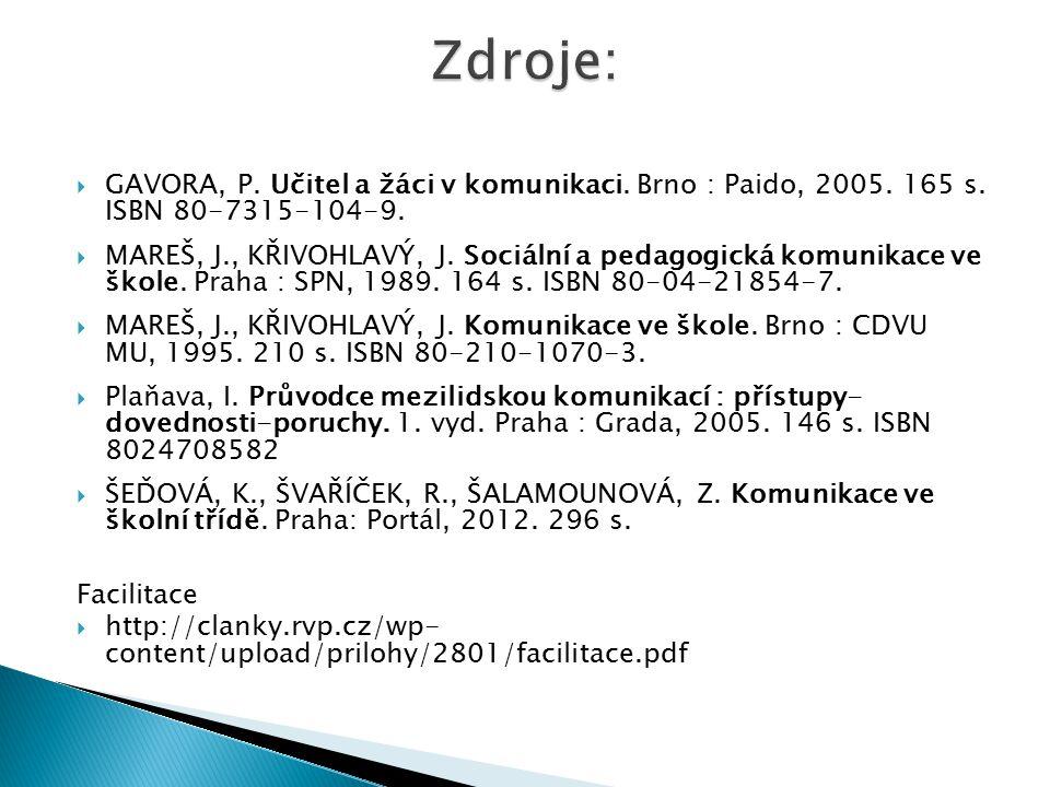  GAVORA, P.Učitel a žáci v komunikaci. Brno : Paido, 2005.