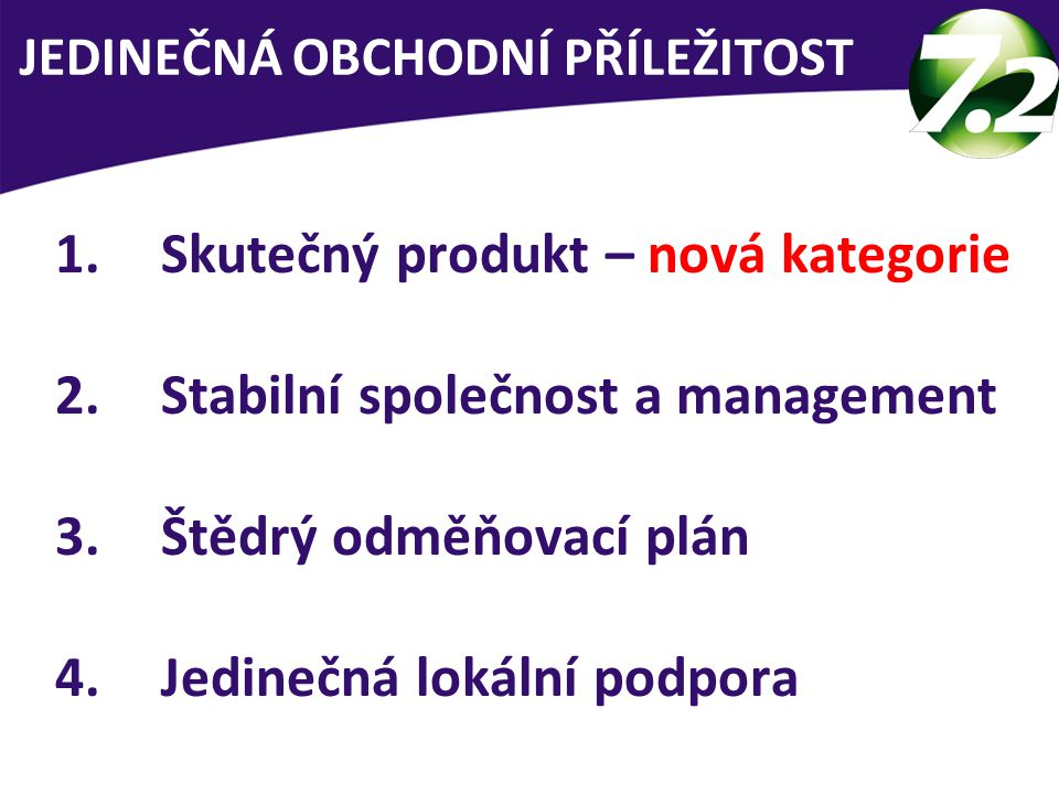 1.Skutečný produkt – nová kategorie 2.Stabilní společnost a management 3.Štědrý odměňovací plán 4.Jedinečná lokální podpora 3 skupiny lidí JEDINEČNÁ OBCHODNÍ PŘÍLEŽITOST