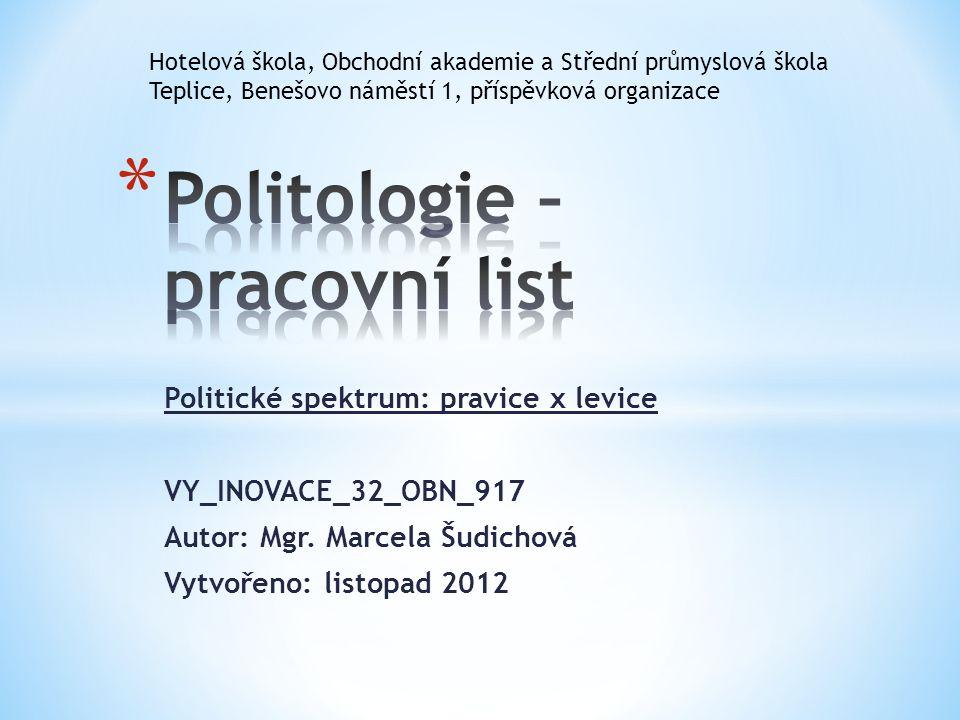 Politické spektrum: pravice x levice VY_INOVACE_32_OBN_917 Autor: Mgr. Marcela Šudichová Vytvořeno: listopad 2012 Hotelová škola, Obchodní akademie a