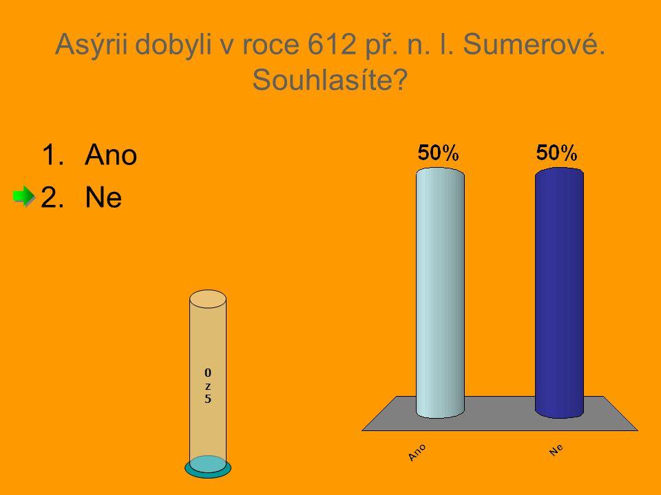 Asýrii dobyli v roce 612 př. n. l. Sumerové. Souhlasíte? 1.Ano 2.Ne 0z50z5