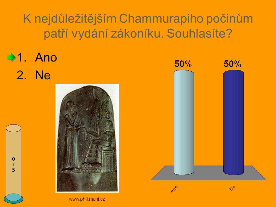 K nejdůležitějším Chammurapiho počinům patří vydání zákoníku.