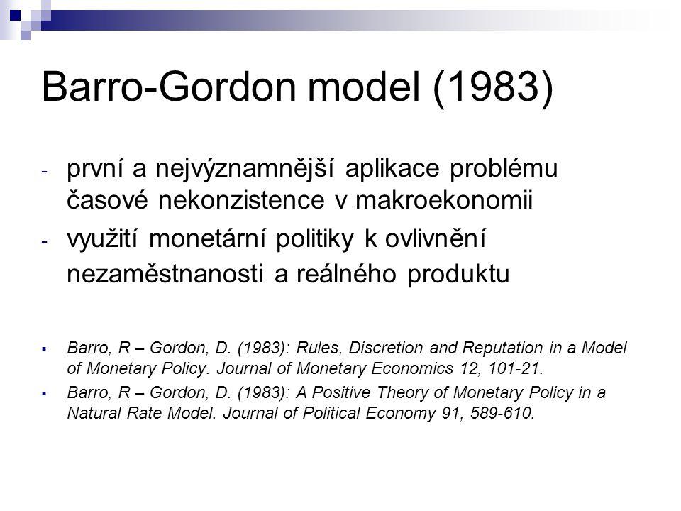 Barro-Gordon model (1983) - první a nejvýznamnější aplikace problému časové nekonzistence v makroekonomii - využití monetární politiky k ovlivnění nez
