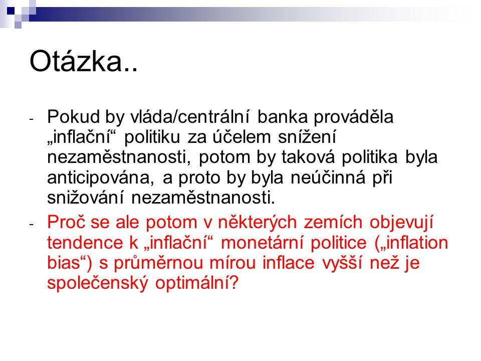 """Otázka.. - Pokud by vláda/centrální banka prováděla """"inflační"""" politiku za účelem snížení nezaměstnanosti, potom by taková politika byla anticipována,"""