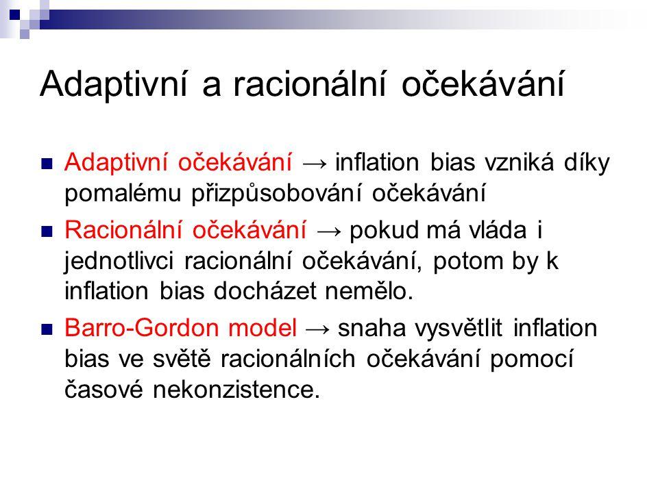 Adaptivní a racionální očekávání Adaptivní očekávání → inflation bias vzniká díky pomalému přizpůsobování očekávání Racionální očekávání → pokud má vl