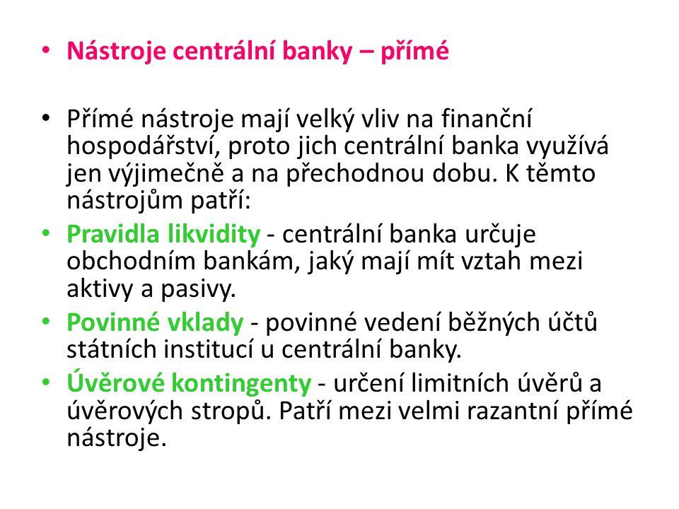 Nástroje centrální banky – nepřímé Diskontní sazba - úroková sazba, za kterou si mohou komerční banky půjčit peníze od centrální banky.