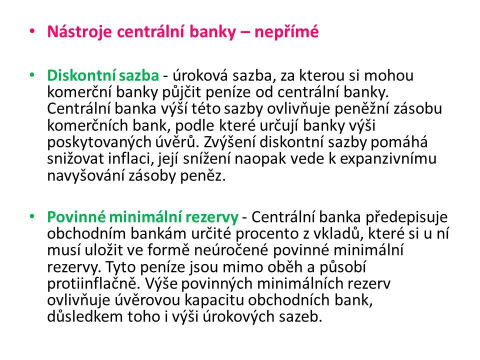 Operace na otevřeném trhu - Centrální banka nakupuje a prodává na volném peněžním trhu státní cenné papíry (státní pokladniční poukázky, popř.