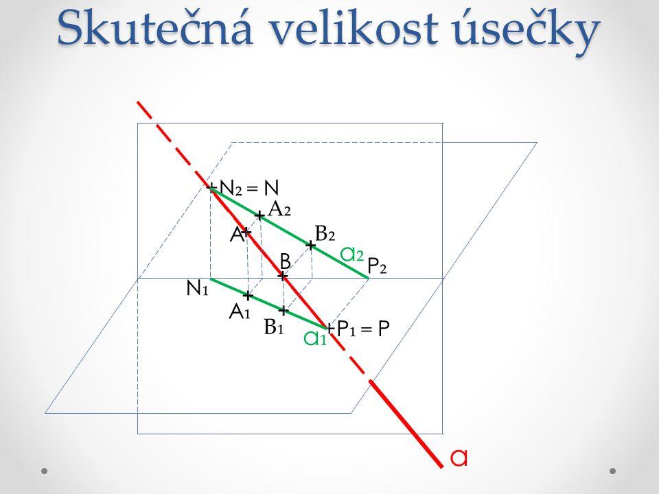 Skutečná velikost úsečky +P ₁ = P N₁N₁ P₂P₂ +N ₂ = N a a₁a₁ a₂a₂ + + + + + + B₁ A₁A₁ B₂ A₂ B A