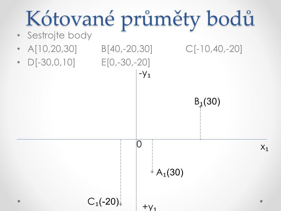 Kótované průměty bodů Sestrojte body A[10,20,30]B[40,-20,30]C[-10,40,-20] D[-30,0,10]E[0,-30,-20] x₁x₁ +y ₁ A ₁ (30) -y ₁ + + + + C ₁ (-20) B ₁ (30) D ₁ (10) 0