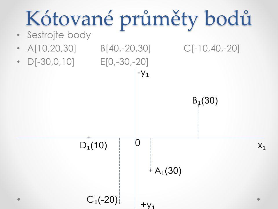 Kótované průměty bodů Sestrojte body A[10,20,30]B[40,-20,30]C[-10,40,-20] D[-30,0,10]E[0,-30,-20] x₁x₁ +y ₁ A ₁ (30) -y ₁ + + + + + C ₁ (-20) B ₁ (30) E ₁ (-20) D ₁ (10) 0