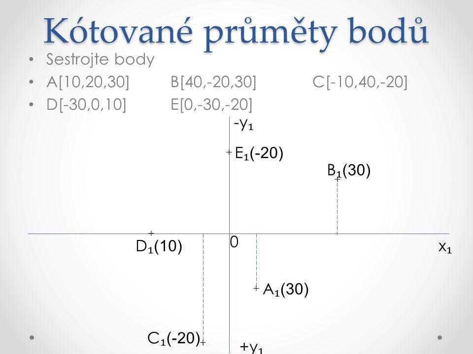 Kotovaný průmět přímky Sestrojte přímky a = ABA[-30,10,10]B[-30,10,50] b = CDC[0,0,50]D[40,30,50] k = KLK[-10,20,-20]L[20,-30,30] x₁x₁ +y ₁ -y ₁ 0