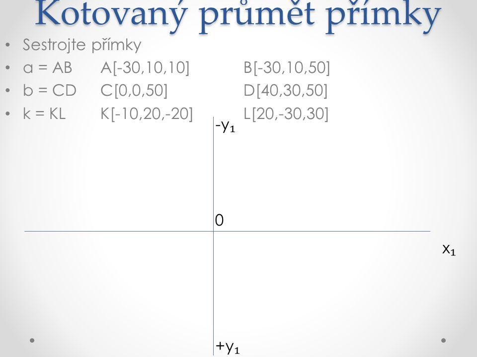 Kotovaný průmět přímky Sestrojte přímky a = ABA[-30,10,10]B[-30,10,50] b = CDC[0,0,50]D[40,30,50] k = KLK[-10,20,-20]L[20,-30,30] x₁x₁ +y ₁ -y ₁ A ₁ (10) 0 +
