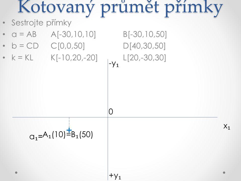 Kotovaný průmět přímky Sestrojte přímky a = ABA[-30,10,10]B[-30,10,50] b = CDC[0,0,50]D[40,30,50] k = KLK[-10,20,-20]L[20,-30,30] x₁x₁ +y ₁ -y ₁ A ₁ (10)=B ₁ (50) 0 C ₁ (50) + + a₁=a₁=