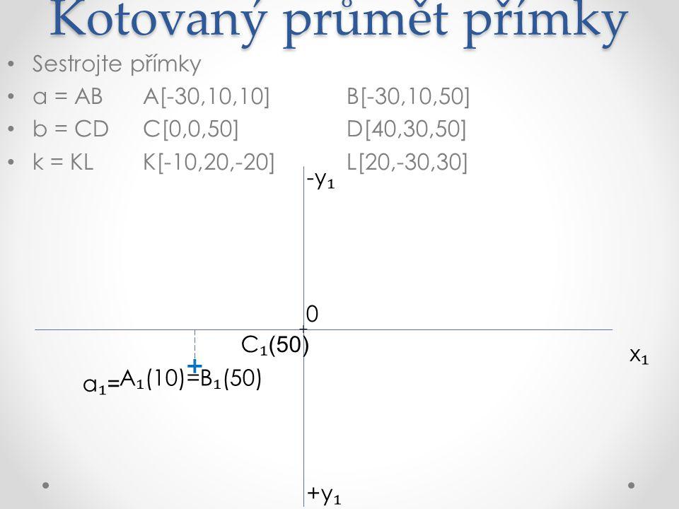 Kotovaný průmět přímky Sestrojte přímky a = ABA[-30,10,10]B[-30,10,50] b = CDC[0,0,50]D[40,30,50] k = KLK[-10,20,-20]L[20,-30,30] x₁x₁ +y ₁ -y ₁ A ₁ (10)=B ₁ (50) 0 C ₁ (50) D ₁ (50) + + + a₁=a₁=