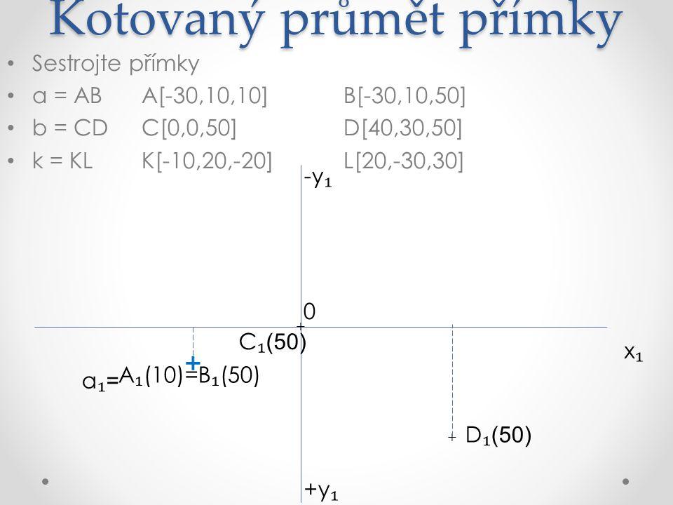 Kotovaný průmět přímky Sestrojte přímky a = ABA[-30,10,10]B[-30,10,50] b = CDC[0,0,50]D[40,30,50] k = KLK[-10,20,-20]L[20,-30,30] x₁x₁ +y ₁ -y ₁ A ₁ (10)=B ₁ (50) 0 C ₁ (50) D ₁ (50) + + + a₁=a₁= b₁b₁