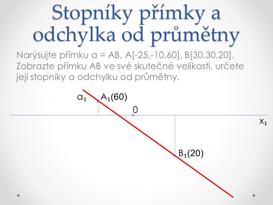Stopníky přímky a odchylka od průmětny Narýsujte přímku a = AB, A[-25,-10,60], B[30,30,20].