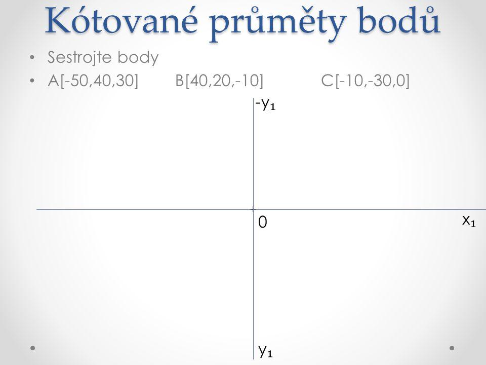 Kótované průměty bodů Sestrojte body A[-50,40,30]B[40,20,-10]C[-10,-30,0] x₁x₁ + + A ₁ (30) y₁y₁ 0 -y ₁