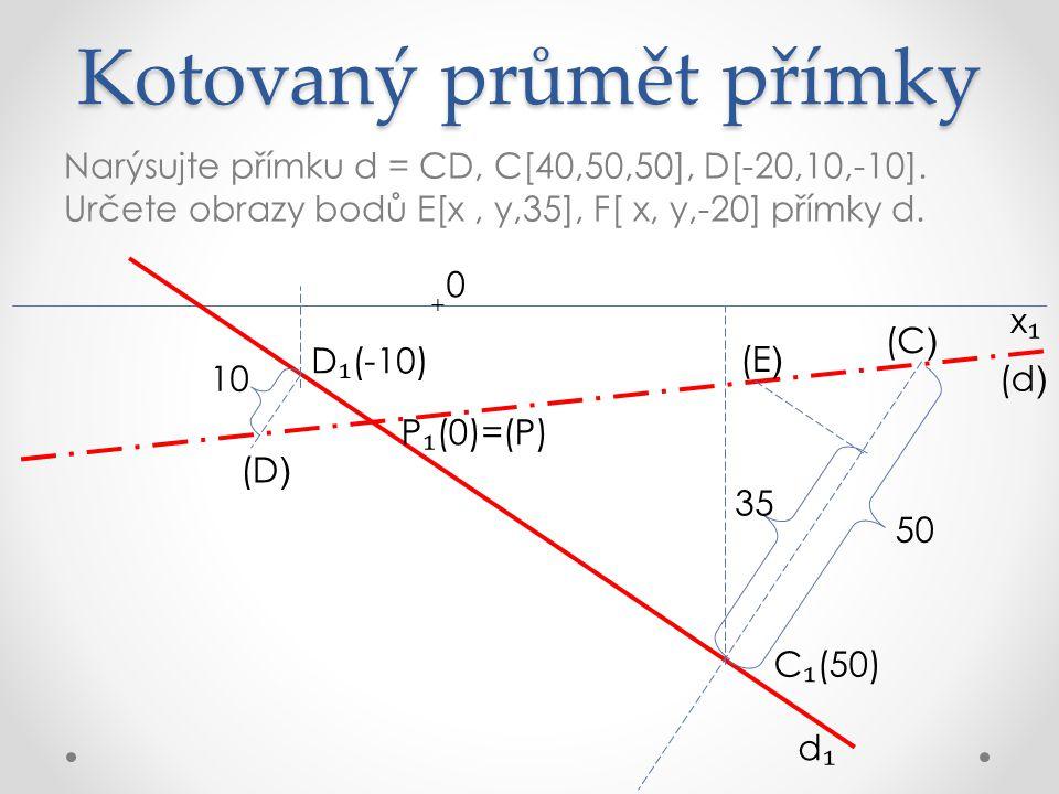 Kotovaný průmět přímky Narýsujte přímku d = CD, C[40,50,50], D[-20,10,-10].