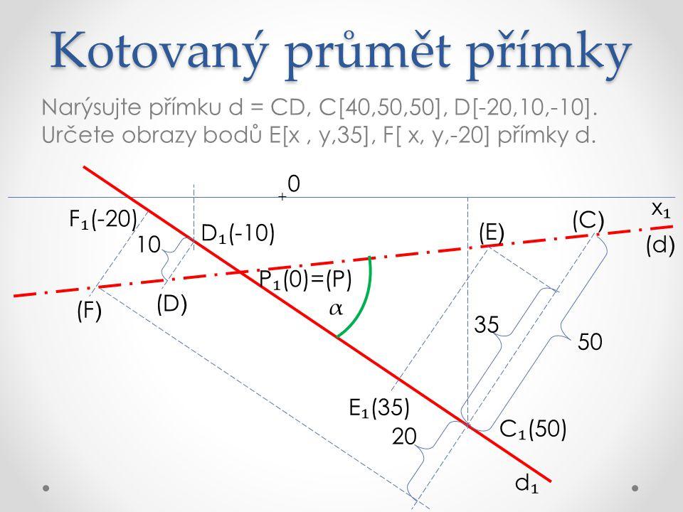 DÚ:V kotovaném promítání najděte stopníky přímek a = AB, A[30,20,20], B[-15,-20,-15] c = CD, C[40,50,50], D[-30,20,5] k = KL, K[30,-30,-30], L[0,-50,-10] x₁x₁ 0 +