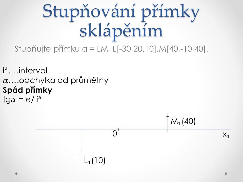 Stupňování přímky sklápěním Stupňujte přímku a = LM, L[-30,20,10],M[40,-10,40].