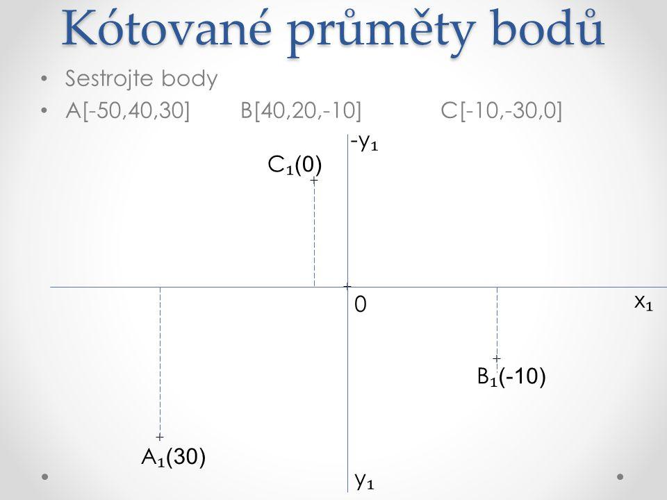 Kótované průměty bodů Sestrojte body A[10,20,30]B[40,-20,30]C[-10,40,-20] D[-30,0,10]E[0,-30,-20] x₁x₁ +y ₁ -y ₁ 0
