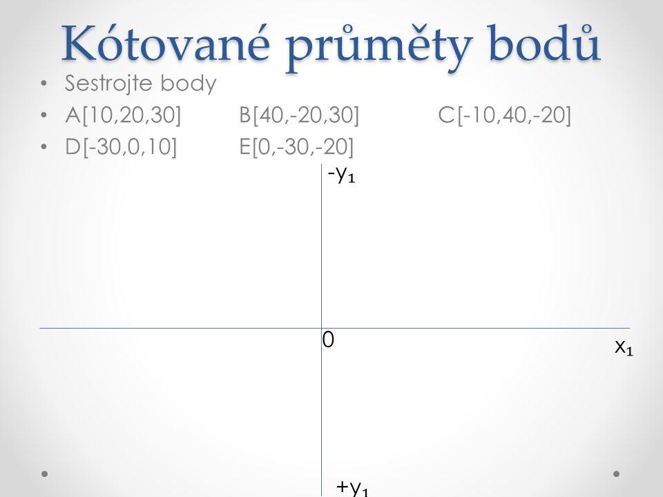 Kótované průměty bodů Sestrojte body A[10,20,30]B[40,-20,30]C[-10,40,-20] D[-30,0,10]E[0,-30,-20] x₁x₁ +y ₁ A ₁ (30) -y ₁ + 0