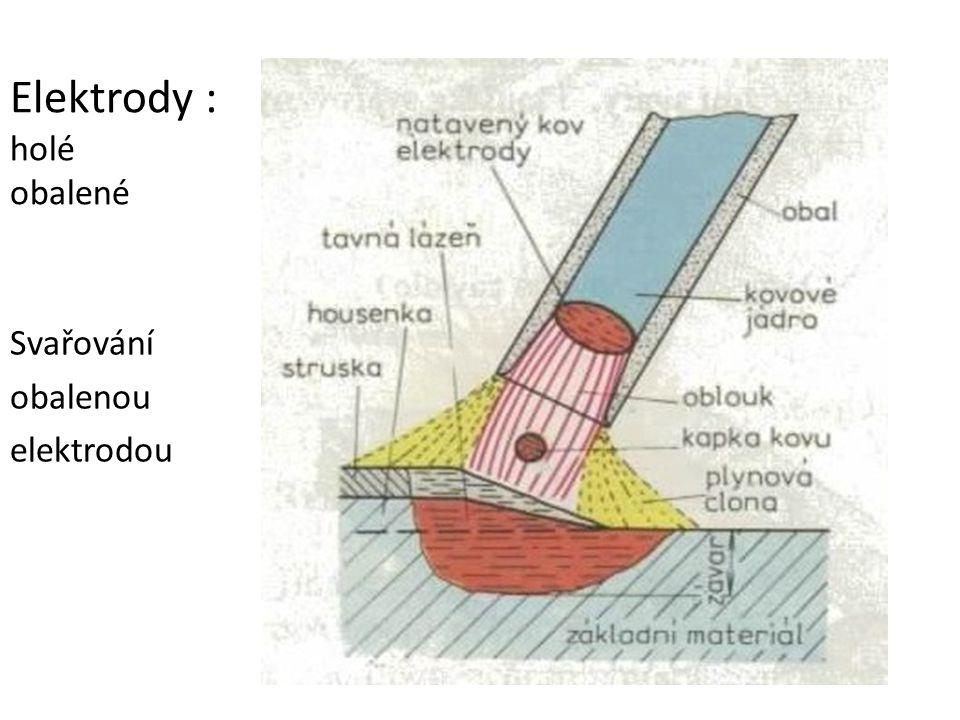 Elektrody : holé obalené Svařování obalenou elektrodou