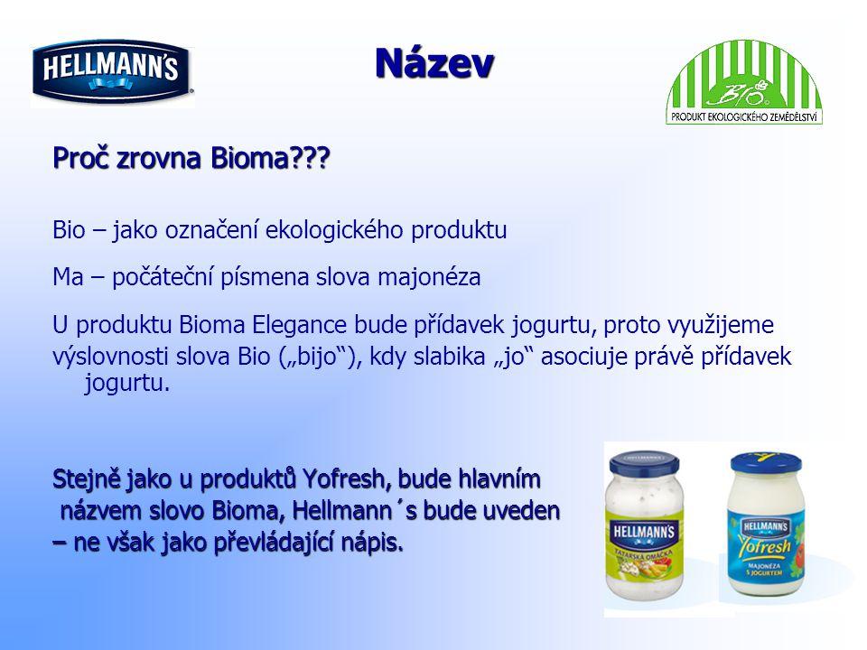 Název Proč zrovna Bioma??? Bio – jako označení ekologického produktu Ma – počáteční písmena slova majonéza U produktu Bioma Elegance bude přídavek jog