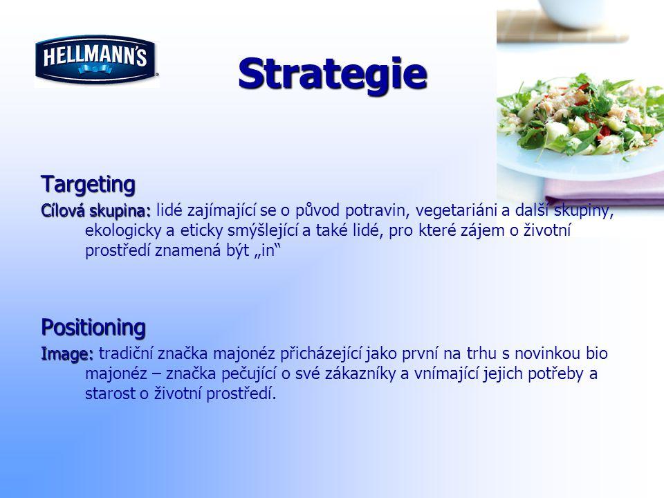 Strategie Targeting Cílová skupina: Cílová skupina: lidé zajímající se o původ potravin, vegetariáni a další skupiny, ekologicky a eticky smýšlející a