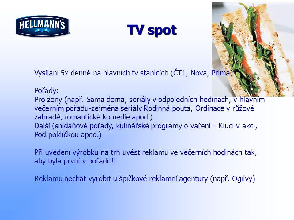 TV spot Vysílání 5x denně na hlavních tv stanicích (ČT1, Nova, Prima) Pořady: Pro ženy (např. Sama doma, seriály v odpoledních hodinách, v hlavním več