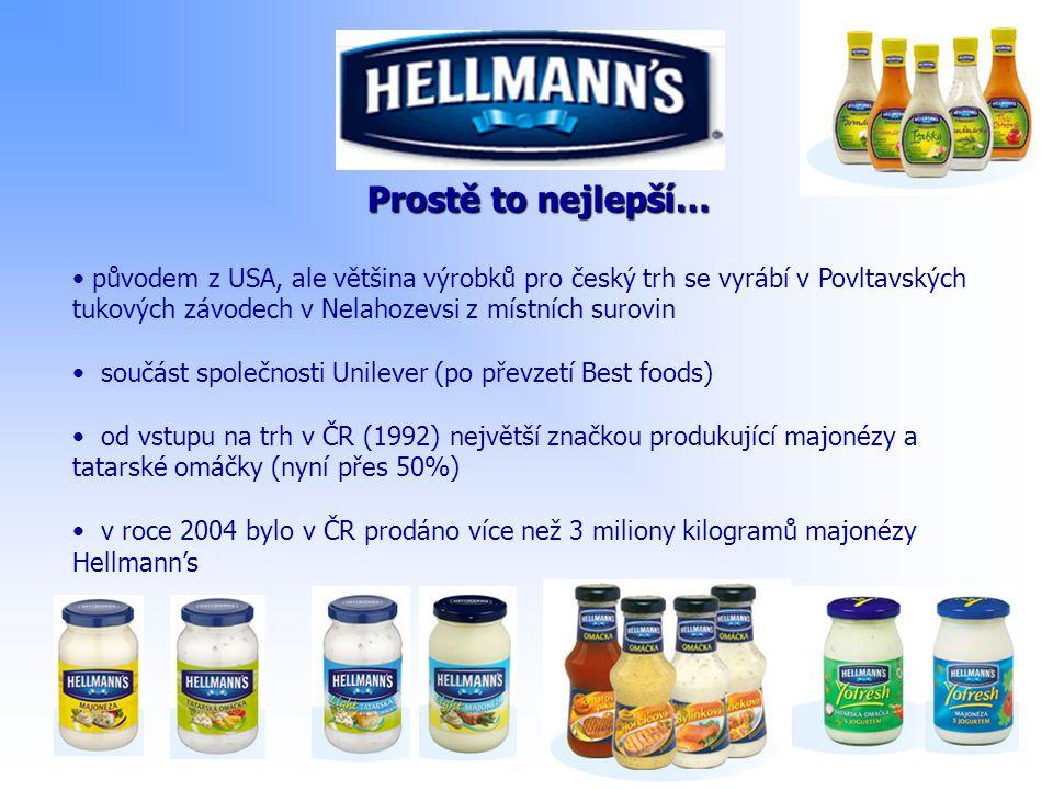 Prostě to nejlepší… původem z USA, ale většina výrobků pro český trh se vyrábí v Povltavských tukových závodech v Nelahozevsi z místních surovin součá