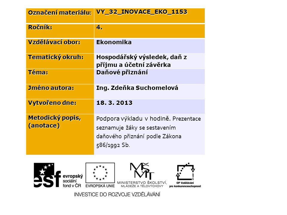 Označení materiálu : VY_32_INOVACE_EKO_1153Ročník:4.