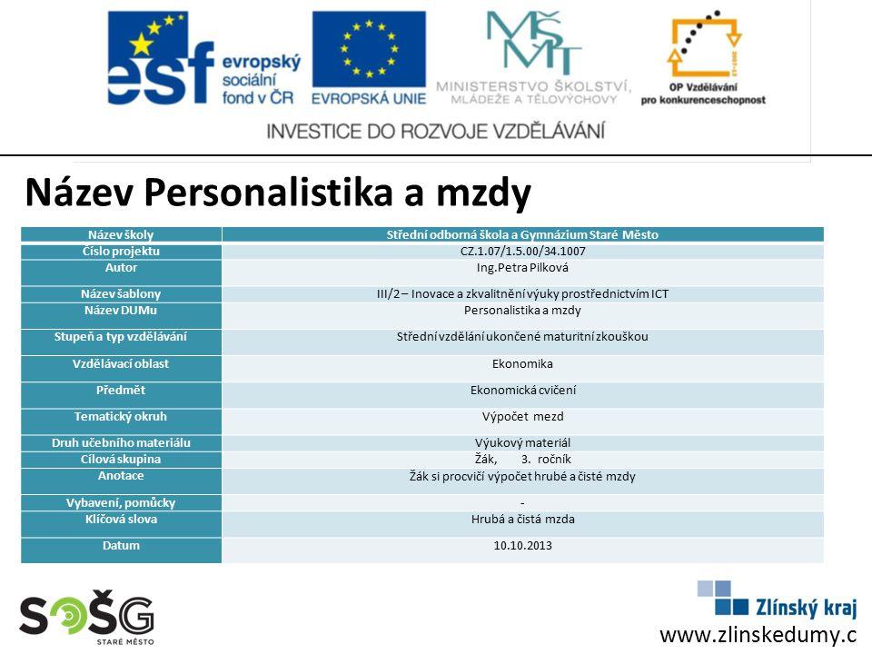 Název Personalistika a mzdy, výpočet mezd