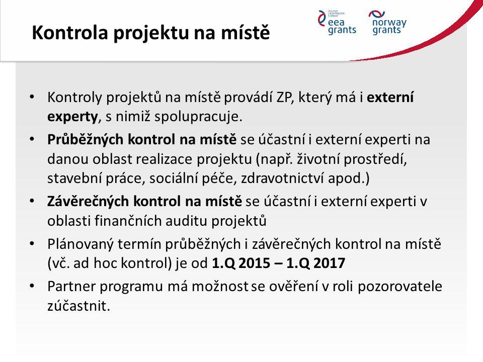 Kontrola projektu na místě Kontroly projektů na místě provádí ZP, který má i externí experty, s nimiž spolupracuje.