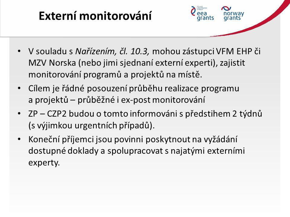 Další kontrolní subjekty KP je povinen poskytnout na vyžádání ZP a dalších kontrolních orgánů všechny doklady a informace k prokázání plnění aktivit a cílů projektu včetně finančního plnění projektu a spolupracovat s uvedenými subjekty na kontrole projektu.