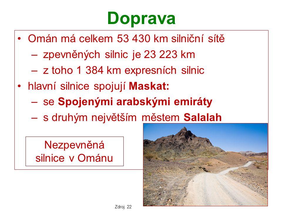 Doprava Omán má celkem 53 430 km silniční sítě – zpevněných silnic je 23 223 km – z toho 1 384 km expresních silnic hlavní silnice spojují Maskat: – s