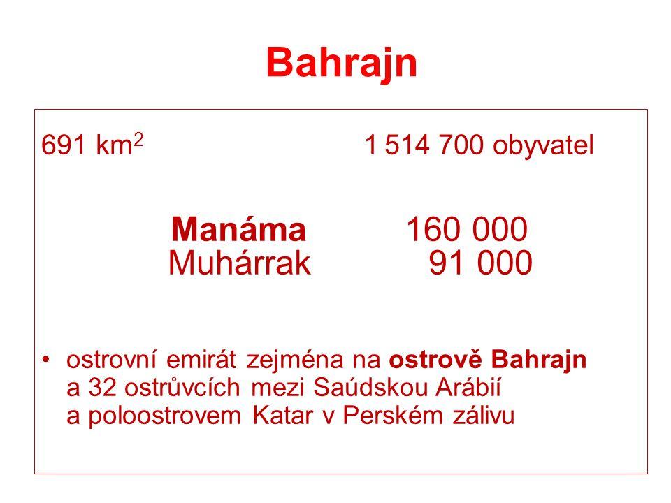 Bahrajn 691 km 2 1 514 700 obyvatel Manáma 160 000 Muhárrak 91 000 ostrovní emirát zejména na ostrově Bahrajn a 32 ostrůvcích mezi Saúdskou Arábií a p