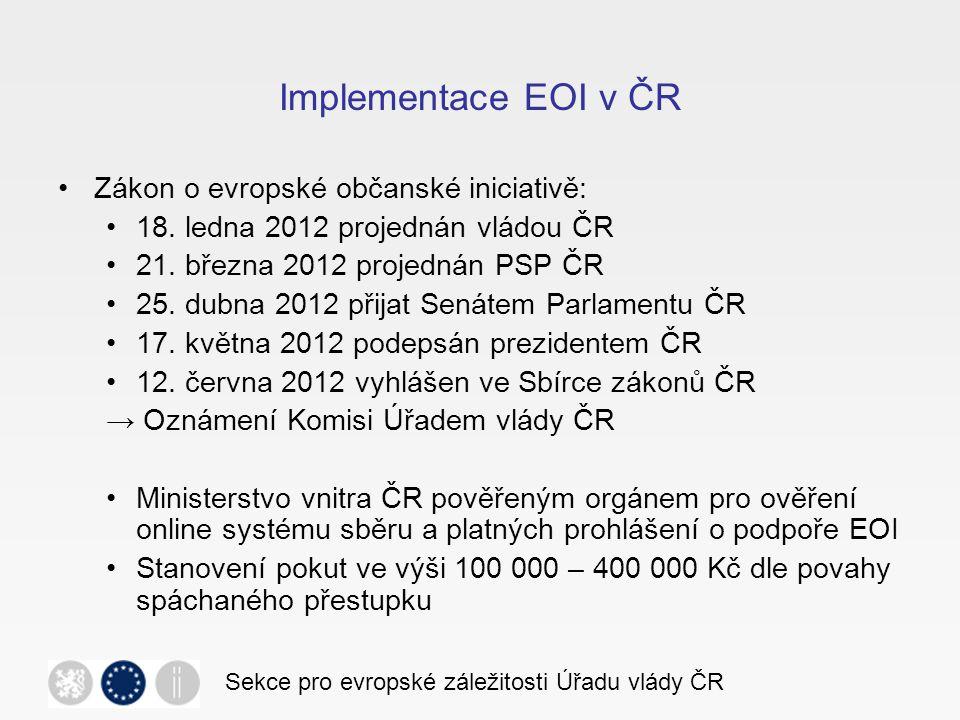 Současný stav a další vývoj K dnešnímu dni Komise požádána o registraci 27 EOI, z toho 19 zaregistrováno.
