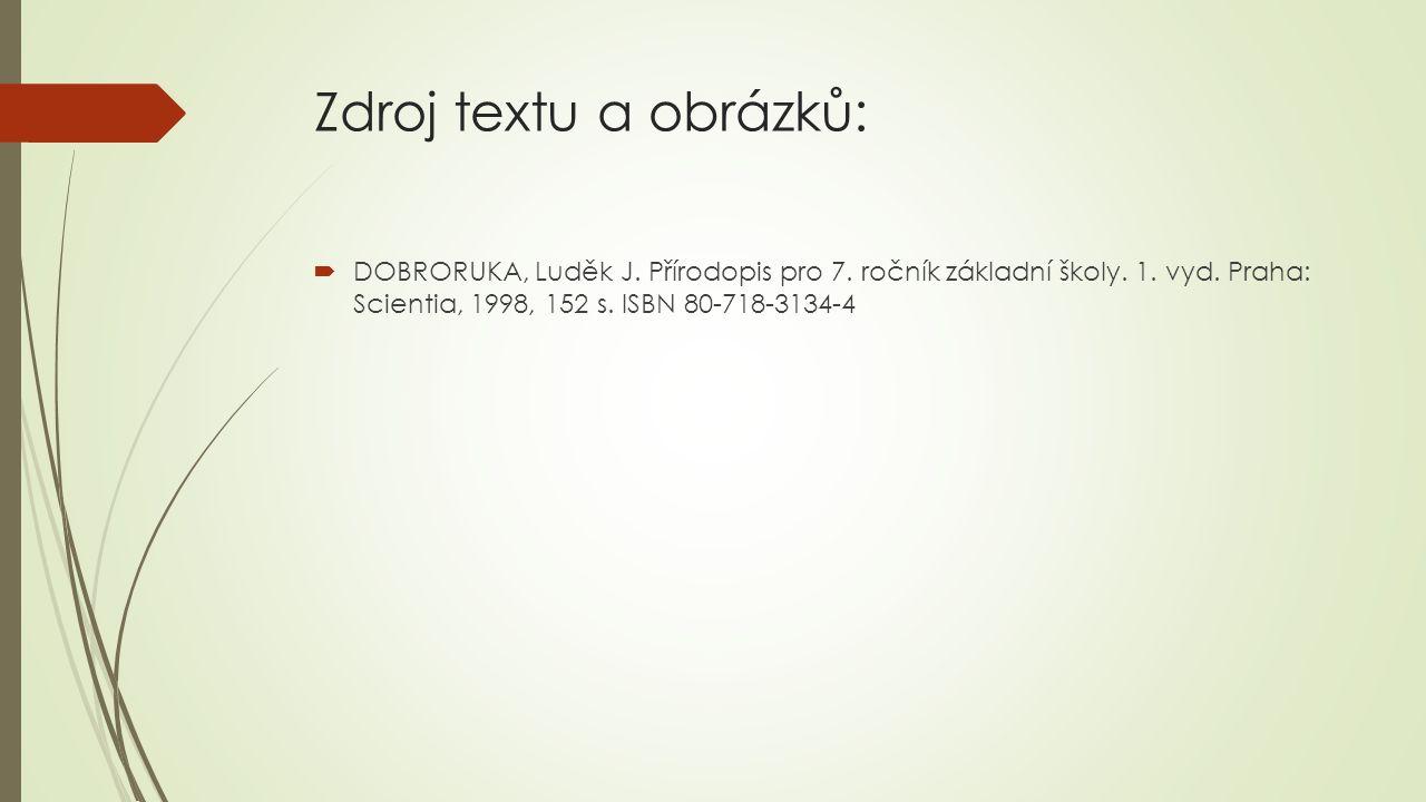 Zdroj textu a obrázků:  DOBRORUKA, Luděk J. Přírodopis pro 7. ročník základní školy. 1. vyd. Praha: Scientia, 1998, 152 s. ISBN 80-718-3134-4