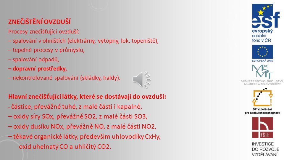 Ovzduší (atmosféra) základní složka ekosystému Členění atmosféry podle: teploty, chemizmu. Složky atmosféry: dusík (N2, N2O), kyslík (O2, O3), oxid uh