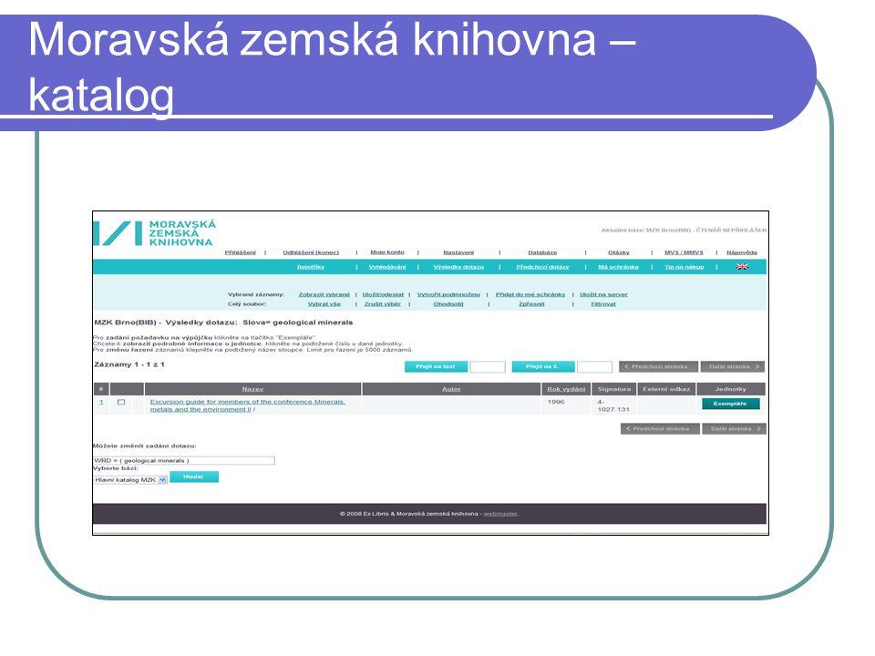 Moravská zemská knihovna – katalog