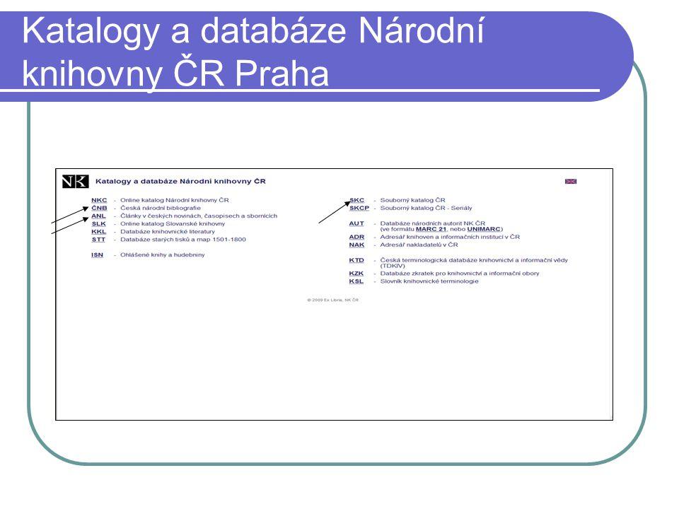 Katalogy a databáze Národní knihovny ČR Praha