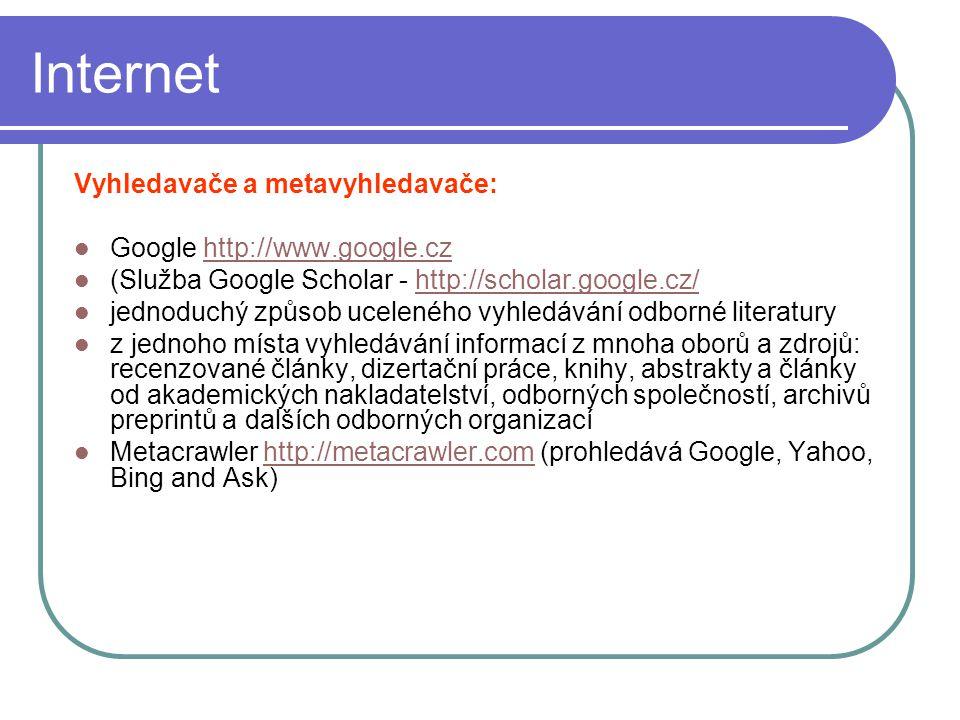 Internet Vyhledavače a metavyhledavače: Google http://www.google.czhttp://www.google.cz (Služba Google Scholar - http://scholar.google.cz/http://schol