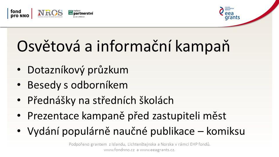 Osvětová a informační kampaň Dotazníkový průzkum Besedy s odborníkem Přednášky na středních školách Prezentace kampaně před zastupiteli měst Vydání populárně naučné publikace – komiksu Podpořeno grantem z Islandu, Lichtenštejnska a Norska v rámci EHP fondů.