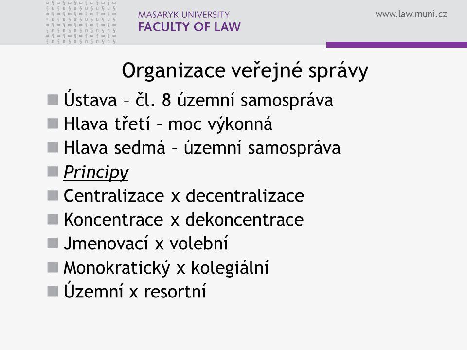 www.law.muni.cz Organizace veřejné správy Ústava – čl. 8 územní samospráva Hlava třetí – moc výkonná Hlava sedmá – územní samospráva Principy Centrali