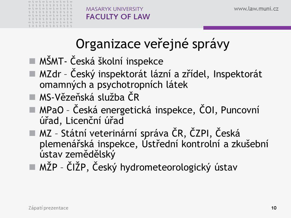 www.law.muni.cz Organizace veřejné správy MŠMT- Česká školní inspekce MZdr – Český inspektorát lázní a zřídel, Inspektorát omamných a psychotropních l