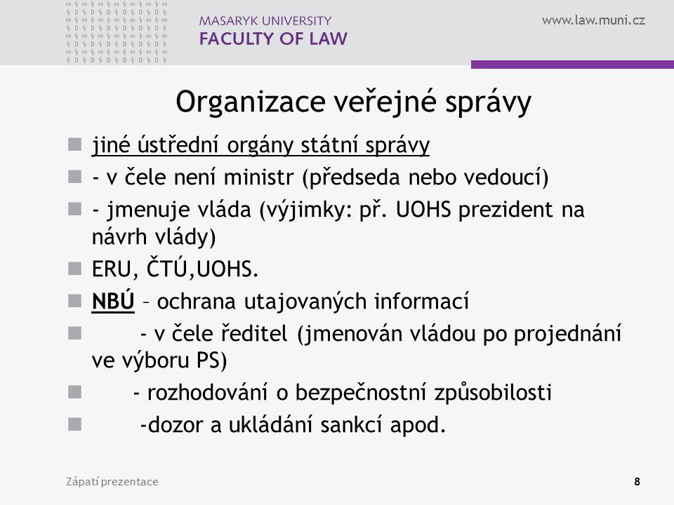 www.law.muni.cz Organizace veřejné správy jiné ústřední orgány státní správy - v čele není ministr (předseda nebo vedoucí) - jmenuje vláda (výjimky: p